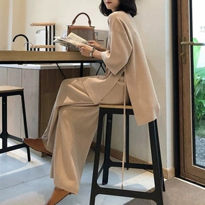 Knitting Female Sweater Pantsuit For Women Two Piece Set Knitted Pullover V-neck Long Sleeve Bandage Top Wide Leg Pants Suit