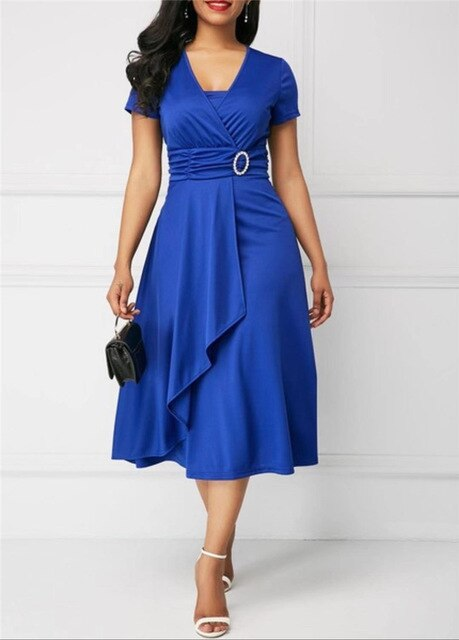 Elegant Asymmetric Midi Dress Women Autumn Summer Solid Casual Short Sleeve V-Neck Dress Plus Size High Waist S-5XL