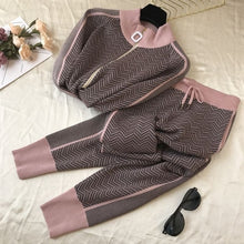Women Knitted Zip Jumper Tops+Pants Sets Woman Striped Sweater Trousers 2PCS Suits