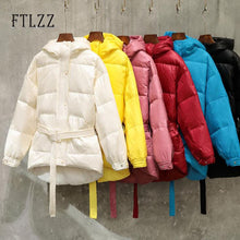 Women Street Down Coat New 2019 Female With Belt Single Breasted Hooded Medium Long White Down Jacket  Parka Warm Snow Outwear