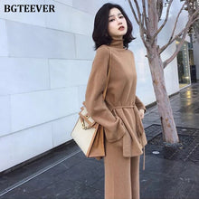 Autumn Winter Knitted 2 Pieces Set Turtleneck Lace Up Pullovers & Loose Pants Fashion Women Sweater Set Casual Sweater Tracksuit