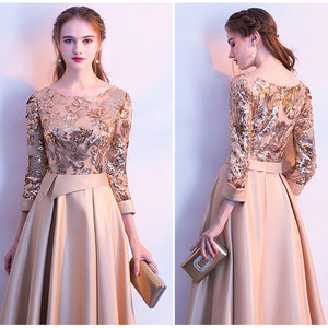 Elegant Evening Party Dresses Golden Summer Long Formal Ladies Sexy 3/4 Sleeve Fashion Gown Dress Women Plus size 2019 Autumn