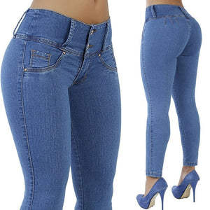 New Plus Size Jeans Woman High Waist Stretch Mom Jeans Female Denim Pencil Elastic Blue Jean Skinny Pants Trousers