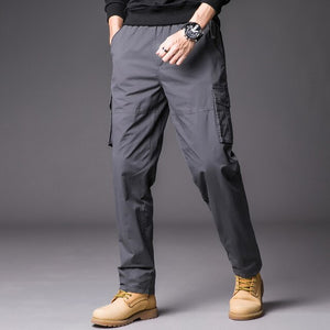 Cargo Pants Mens Military Tactical Multi Zipper Pockets Long Pants Male Cotton Casual Overalls Loose Baggy Work Trouser Big Size