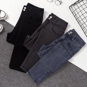 high quality stretch jeans woman streetwear high waist skinny mom jeans women plus size black Ladies jeans denim jeans mujer