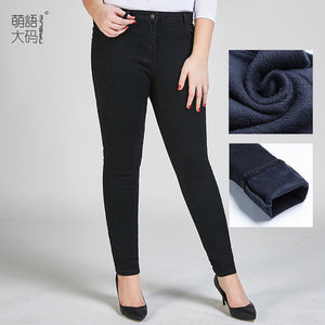 TUHAO plus size 9XL 8XL 7XL Women Winter Jeans Women Trousers Thick Jeans Warm Large size office Jeans Female Pencil Pants LZ36