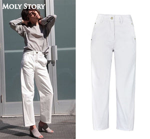 New Wide Leg Jeans Women Casual Loose Ankle Length Ladies High Waist White Jeans Plus Size Denim Pants