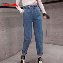 2019 Spring Clothes Ladies High Waist Female Boyfriend Jeans with a tight waistl Denim Ripped Jean Woman Plus Size