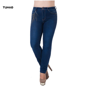 TUHAO 2018 Autumn Winter Women's Office Lady Jeans Plus Size 9XL 8XL 7XL ELEGANT Embroidery Female Jean Pants Trousers MZJ
