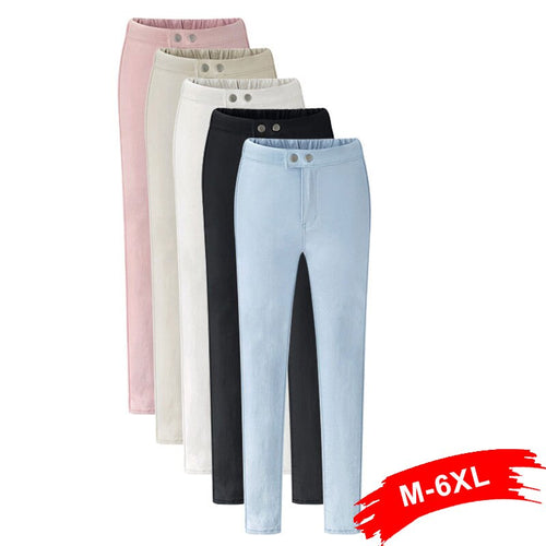Plus Size Elastic Waist Beige Stretch Pencil Pants 4Xl 5Xl 6Xl Spring Fall Office Lady Work Wear Business Black Skinny Trousers