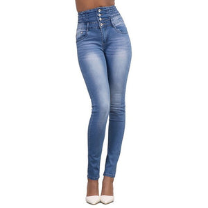 2019 New Woman Denim Pencil Pants Ladies High Stretch Jeans  Women High Waist Jeans Trousers with Button Plus size 2XL