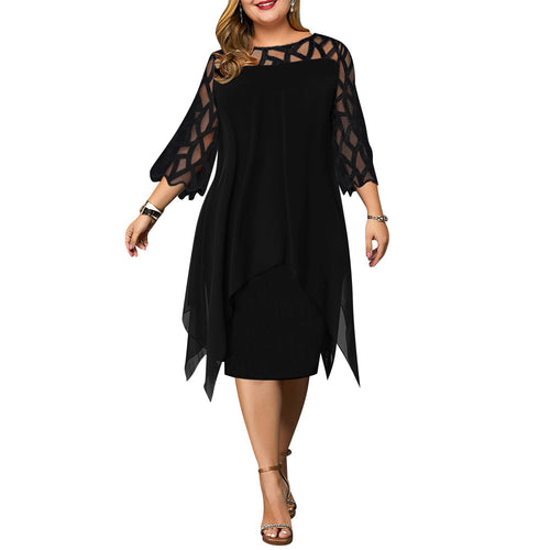 5XL Plus Size Women Black Dress Elegant Office Ladies Dresses Geometric Long Sleeve Female Dress Fall Casual Loose Vestido D30