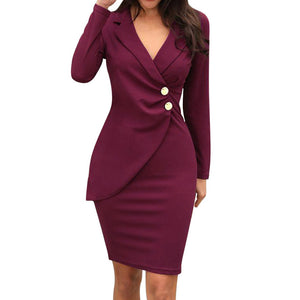 bohemian dress Women Solid Turn Neck Long Sleeve Buttons Bodycon Casaul Work Formal Dress dress plus size vestido mujer