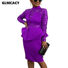 Women Peplum Sequin Detail Dress Plus Size Office Lady Chic Spring Fall Elegant Night Out Club Formal Party Vestidos