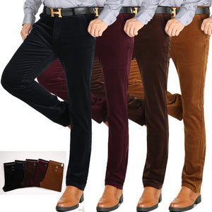Autumn Winter New Straight Slim Stretch men corduroy pants Solid slacks Male Casual elastic Thicken corduroy Trousers Size 29-40