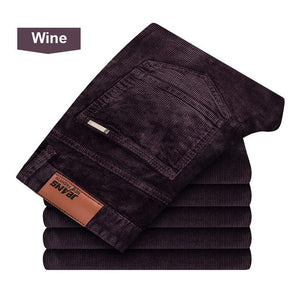 NIGRITY winter thick men pants mid waist loose trousers elastic corduroy pants long straight business casual pants 6 colors