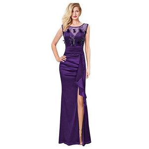 Womens Formal Ruched Ruffles Evening Prom Wedding Party Maxi Dress  Vintage Elegant Long Dresses Plus Size summer vestidos L0082