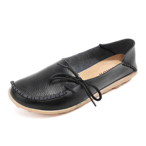 Women Flats  Summer Women Slipony Genuine Leather Shoes Slip on Ballet Bowtie  Moccasins Ballet Flats Zapatos De Mujer Shoes