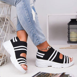 Women's Sandals Stretch Fabric Casual Woman Shoes Slip On Peep Toe Thick Bottom Platform Ladies Summer Sneakers Female Zapatos