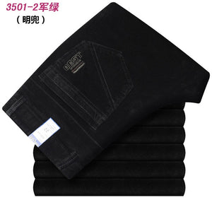 Autumn and winter Corduroy pants men business casual pants loose elastic middle-aged straight pants thicken corduroy trousers