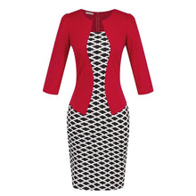 New Fashion Spring Autumn Style Women Formal Bodycon Dress Elegant Plus Size Plaid Pencil Dresses Office Wear Women Work Clothes