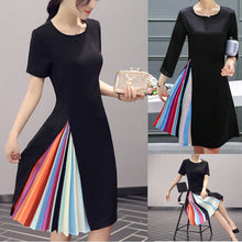 2016 New Design Women Summer Dress Hidden Rainbow Pleated Dress OL Formal Work Midi Dress Plus Size