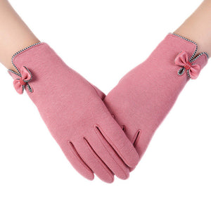 High Quality   Screen Gloves Ladies Womens Big Bow Winter Warm Mittens For winter gloves women