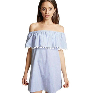 Fashion Summer Dress Women Loose Design White Blue Striped Off the Shoulder Mini Dress Casual Tassel Sexy Dresses Sundress 2017