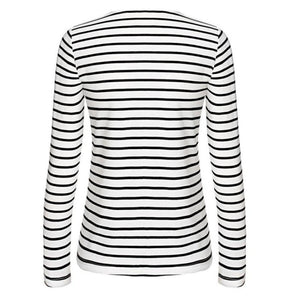 Winter Autumn White T-Shirt Women Stripe Long Sleeve Sexy V-neck Bandage Decoration Casual Tops Plus Size S~XXXXL#LSW