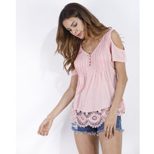 Summer Women Blouse Off Shloulder Short Sleeve Sexy V Neck Lace Shirt Beach Holiday Casual 5 Colors Tops Tee Plus Size