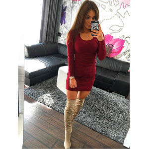 Women Fashion Sexy Solid Long Sleeve Dresses Cotton Black Beach Mini Dress Office Women Dresses