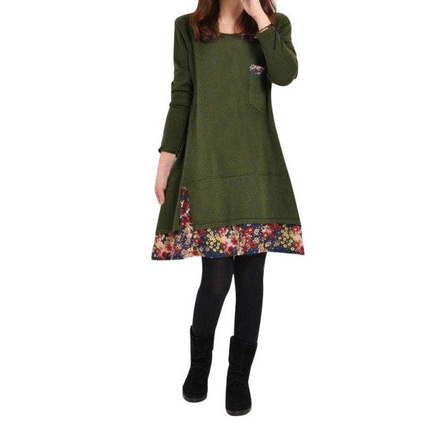 Hot Sale Autumn Winter Dress Elegant Women Ladies Long Sleeve Printing Casual Loose Knee-Length Dresses M~XXL