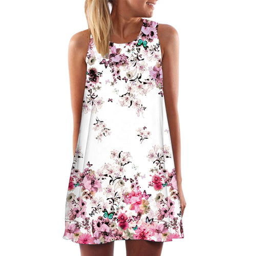 Spring Summer Dress Women 2017 Vintage Boho Sleeveless Beach Flower Printed Short Mini Dress vestido de festa Plus Size