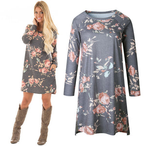 Women Designer Dress High Quality 2017 Autumn Dresses Long Sleeve O Neck Floral Printed Dress vestido
