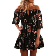 Women Summer Autumn Bohemian Floral Dress Off Shoulder Beach Party Dress Three Quarter With Belt Women Chic chiffon Black Dress