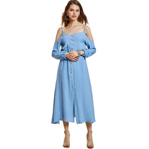 Slash Neck Single-Breasted Women's Maxi Dress
