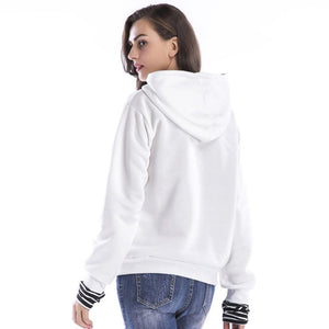 Feitong Hooded Sweatshirt Women Long Sleeve Casual Autumn Winter High Quality Pocket harajuku Hoodies Women Pullover White