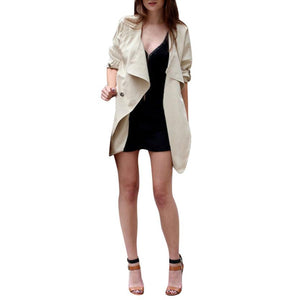 FEITONG Autumn Winter Coat 2017 New Arrival Open Stitch Womens Khaki Blue Ruffle Long Sleeve Top Coat Jacket Female Outerwear#3
