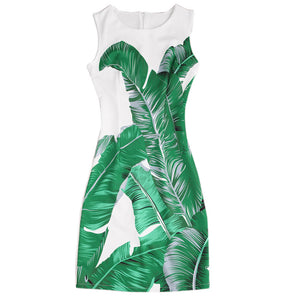 white Summer Dress 2017 Women Casual Green leaf Print Sleeveless Zipper Back Tank Mini Dress vestido feminino
