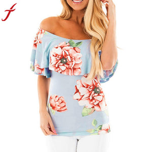 Ruffles Korean Style Women Blue Blouse Sexy Off Shoulder Boat Neck Floral Printed Blusa Casual Cotton Women Blouses Tops Shirt