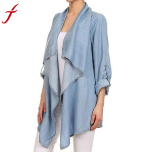 JECKSION women Jeans coat 2016 new Long Sleeved Denim Jackets Irregular Tops Outerwear #LN