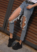 Women Stylish Destroyed Ripped Jeans High Waist Nine Jeans Pants with Big Hole on Knee