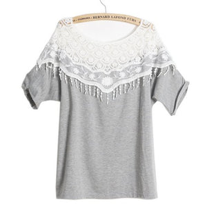 Fashion Spring Autumn Women's Girls Sweet Lace Hollow-out Crochet Flower Off Shoulder Batwing Half Sleeves Loose T-shirt Blouse Top One