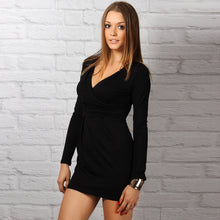 Fashion Spring Summer Women's Ladies Long Sleeve Deep V-neck Sexy Bodycon Mini Dress