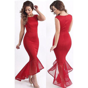 Fashion Women Tulle Fishtail Sleeveless Long Dress