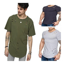 Street Wear T-shirt Holes Hip Hop Short Sleeve T-shirts Men O-neck Loose Tops