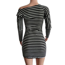 Sexy One Shoulder Dress for Elegant Women Lady Autumn Dress Women Stripe Long Sleeve Strapless O-Neck Bandage Pencil Mini Dress