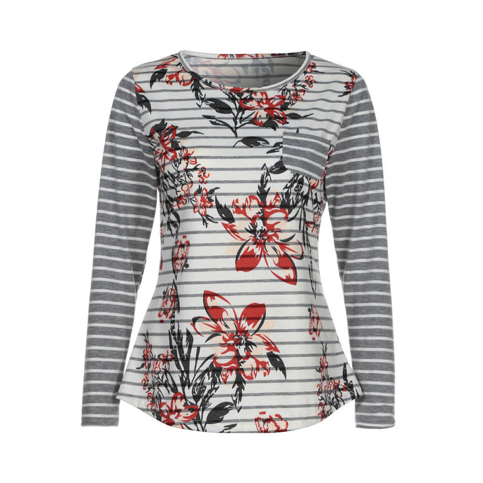 Women Spring Long Sleeve Button Back Printing Floral Tops Blouse T Shirt