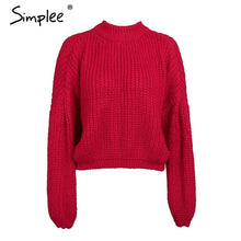 Simplee Winter lantern sleeve knitted sweater pullover Women loose round neck red sweater Female autumn casual sweater jumper