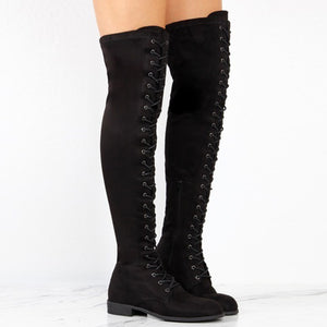 Women Cross-tied Platform Shoes High Boots Over The Knee Boots Flat Heel Boots